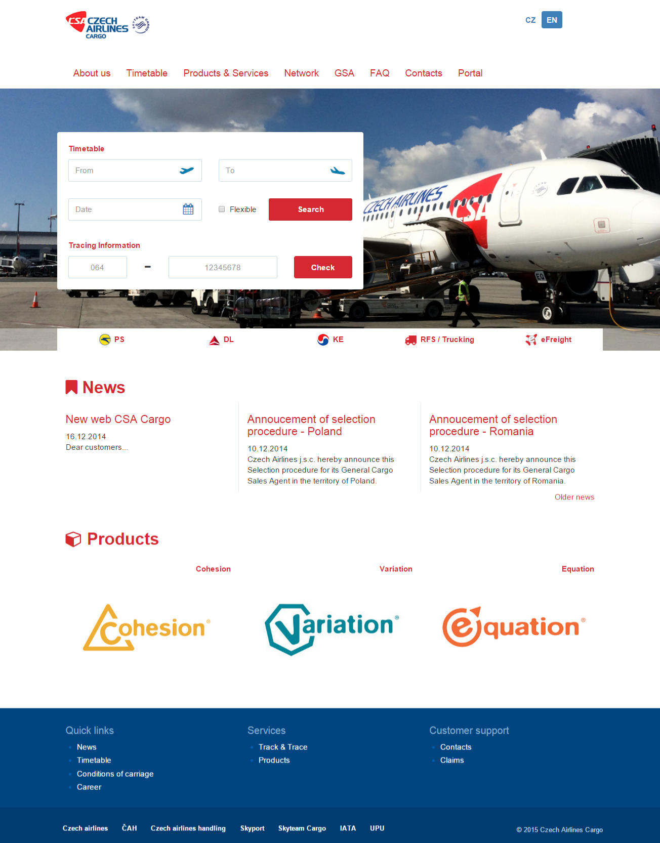 ČSA Cargo website